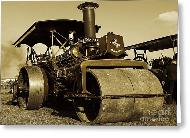 The Old Steam Roller Greeting Card by Rob Hawkins
