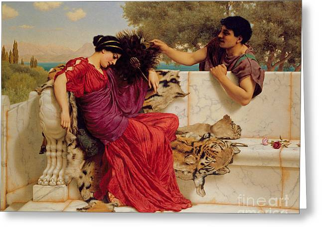 Modesty Greeting Cards - The Old Story Greeting Card by John William Godward