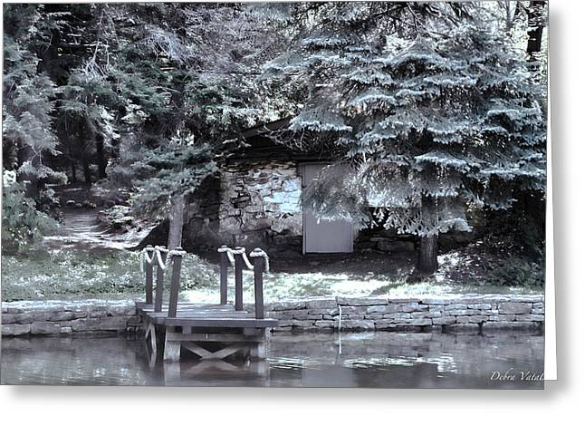Trees Reflecting In Water Mixed Media Greeting Cards - The Old Swimming Hole Greeting Card by Debra     Vatalaro