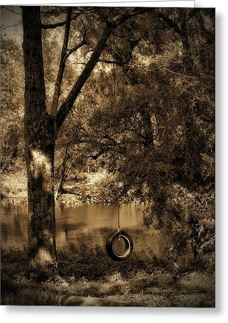 Stream Digital Art Greeting Cards - The Old Tire Swing Greeting Card by Bill Cannon