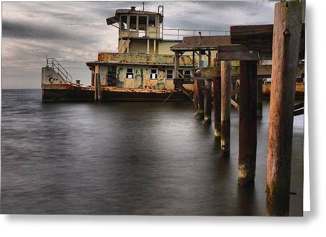 Alienating Greeting Cards - The Old Tugboat Greeting Card by Anthony Walker Sr