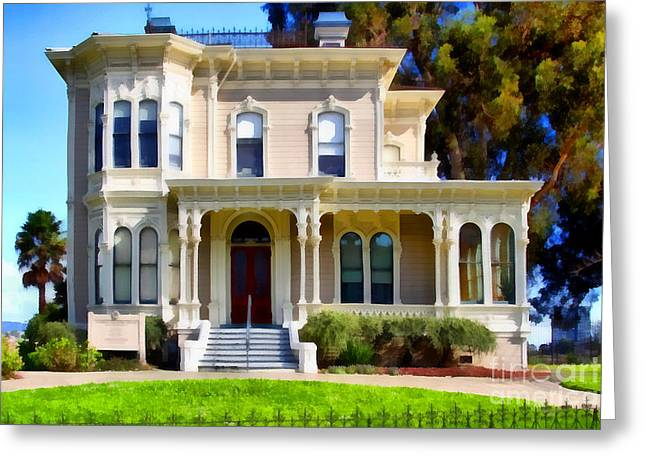 Work Area Greeting Cards - The Old Victorian Camron-Stanford House in Oakland California . 7D13440 Greeting Card by Wingsdomain Art and Photography