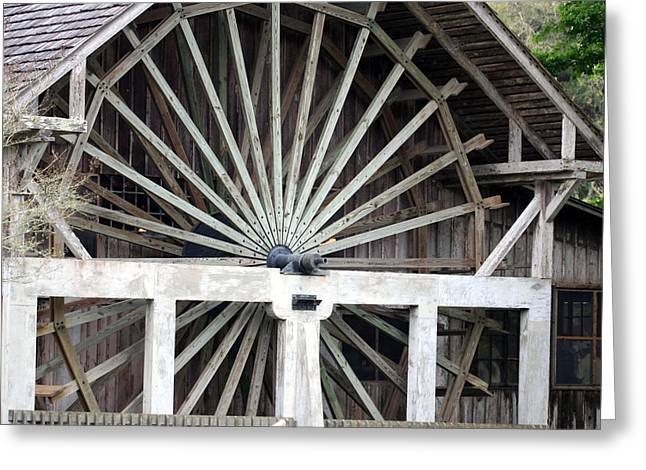The Old Waterwheel Greeting Card by April Wietrecki Green