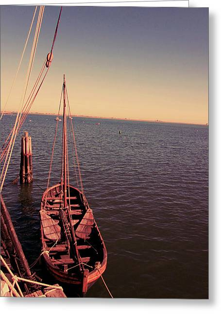 Wooden Boat Greeting Cards - The Old Wooden Boat Greeting Card by Lourry Legarde