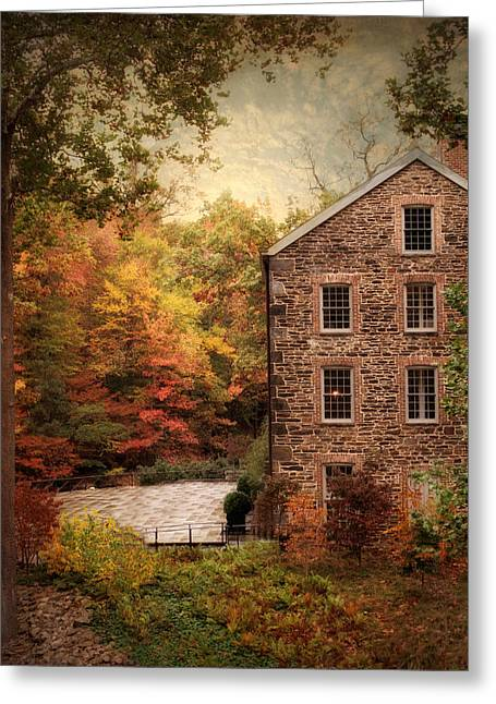 Grist Mill Greeting Cards - The Olde Country Mill Greeting Card by Jessica Jenney