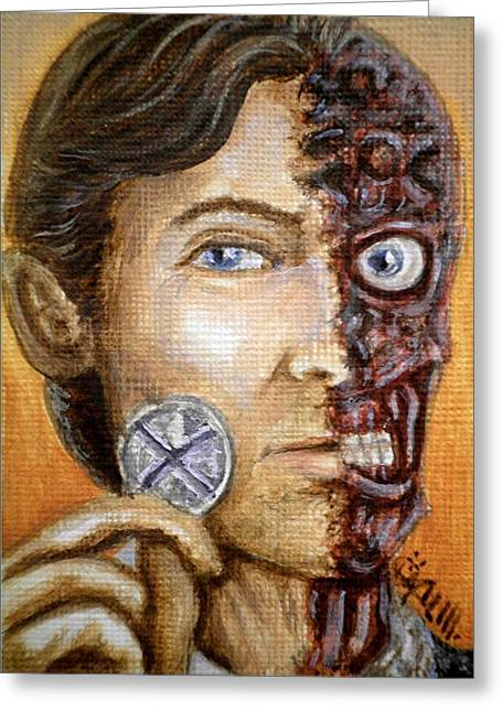 Two Faces Greeting Cards - The only morality in a cruel world is chance Greeting Card by Al  Molina