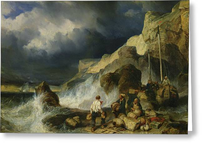 Pirates Paintings Greeting Cards - The Onslaught of the Smugglers Greeting Card by Louis Eugene Gabriel Isabey