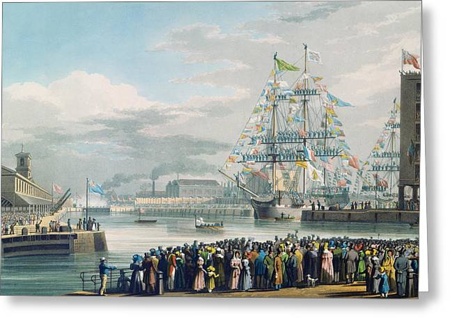 Coloured Greeting Cards - The Opening of Saint Katharine Docks Greeting Card by Edward Duncan