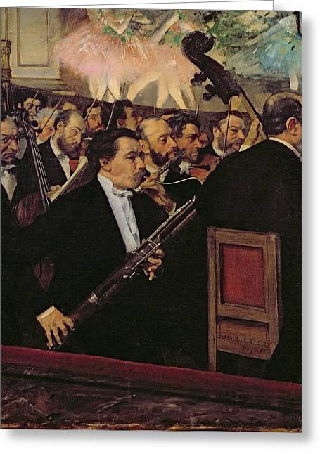 Instruments Greeting Cards - The Opera Orchestra Greeting Card by Edgar Degas