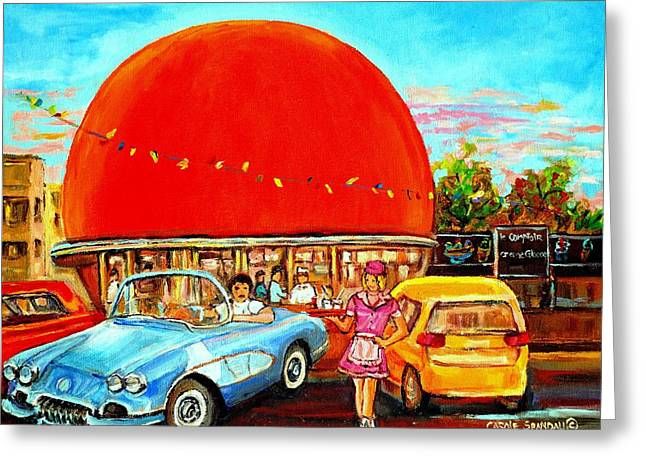 Prince Arthur Street Greeting Cards - The Orange Julep Montreal Greeting Card by Carole Spandau