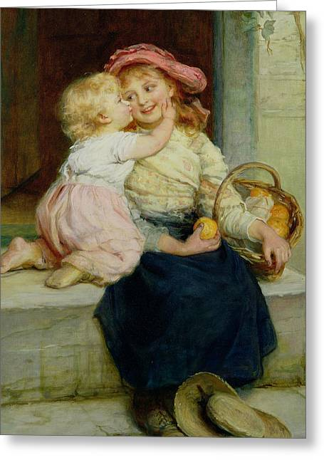 Baby Sister Greeting Cards - The Orange Seller Greeting Card by  Frederick Morgan