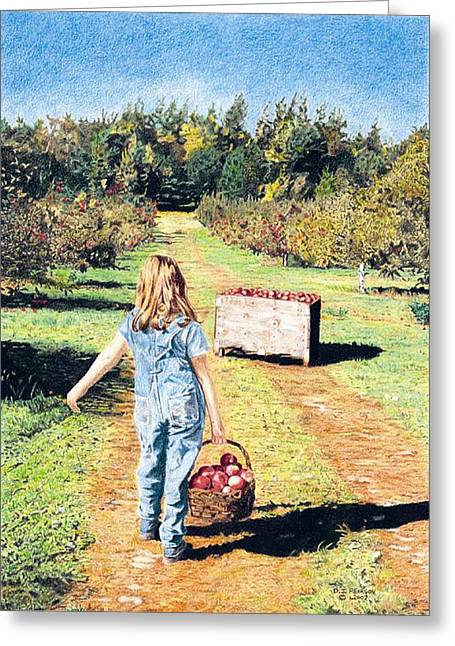 Overalls Drawings Greeting Cards - The Orchard Path Greeting Card by Danielle Pearson