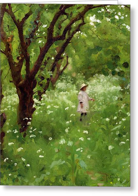 Wild Orchards Greeting Cards - The Orchard  Greeting Card by Thomas Cooper Gotch