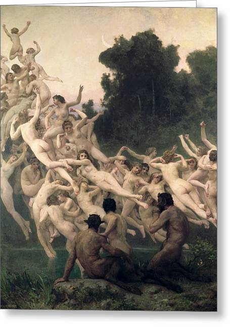 Valley Of The Moon Paintings Greeting Cards - The Oreads Greeting Card by William-Adolphe Bouguereau
