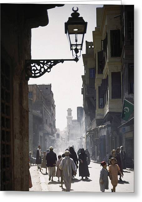 Streetlight Greeting Cards - The Oriental Quarter In Cairo Greeting Card by B. Anthony Stewart