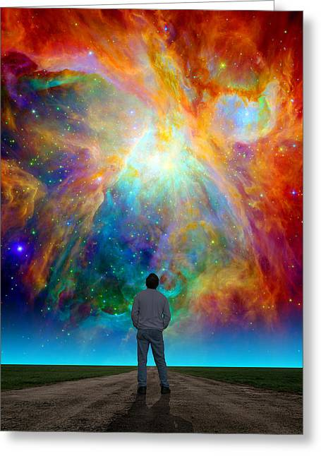 Composite Photo Greeting Cards - The Orion Nebula Greeting Card by Larry Landolfi
