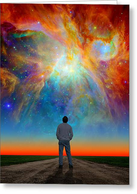Composite Photo Greeting Cards - The Orion Nebula Stare Greeting Card by Larry Landolfi