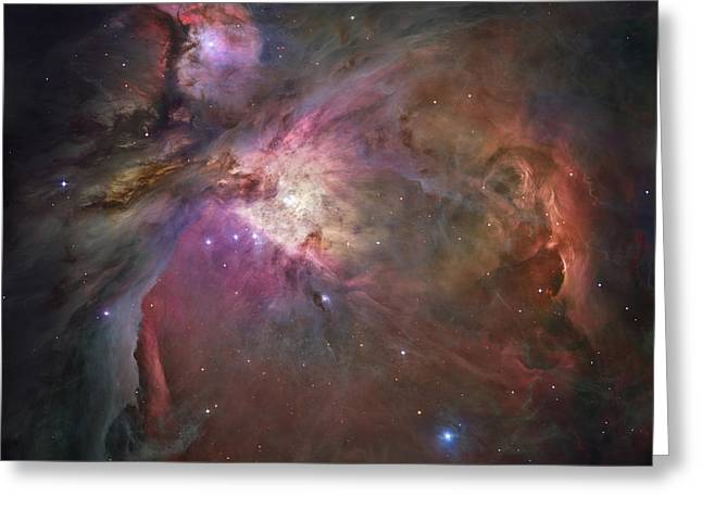 Colorful Cloud Formations Greeting Cards - The Orion Nebula Greeting Card by Stocktrek Images