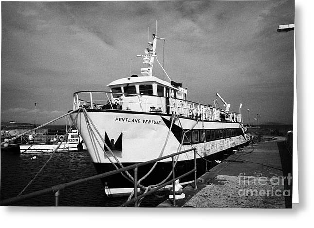 Groat Greeting Cards - the orkney ferry in John OGroats harbour scotland uk Greeting Card by Joe Fox