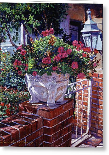 Patio Greeting Cards - The Ornamental Floral Gate Greeting Card by David Lloyd Glover