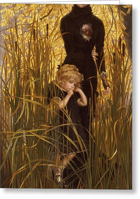 Yellow Leaves Greeting Cards - The Orphan Greeting Card by James Jacques Joseph Tissot