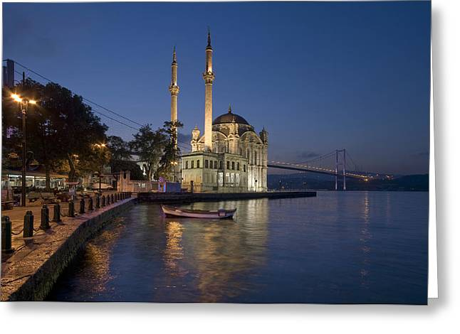 The Ortakoy Mosque and Bosphorus Bridge at dusk Greeting Card by Ayhan Altun
