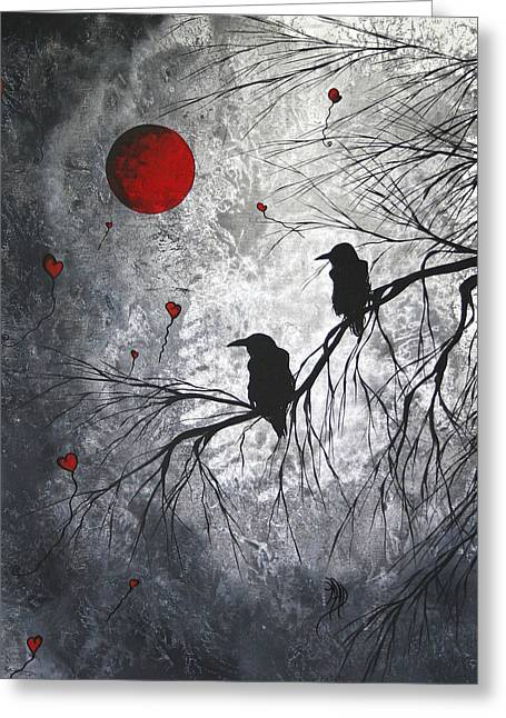 Whimsical Paintings Greeting Cards - Original Abstract Surreal Raven Red Blood Moon Painting The Overseers by MADART Greeting Card by Megan Duncanson