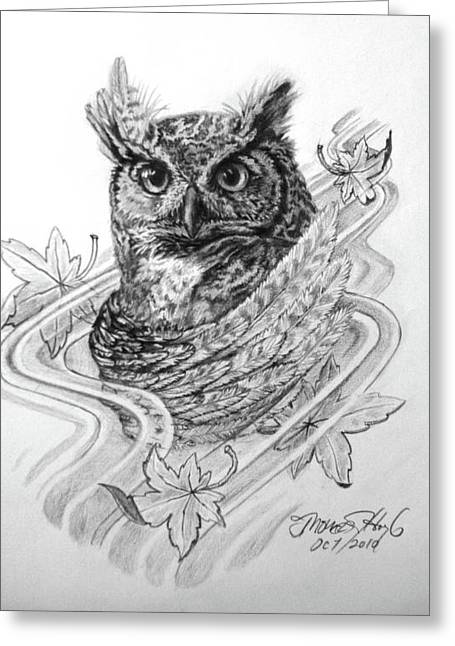 Wild Life Drawings Greeting Cards - The Owl Greeting Card by Thomas Hoyle