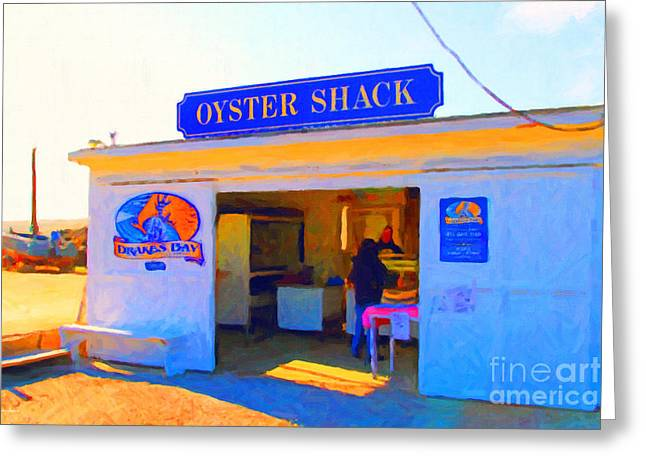 Marin County Greeting Cards - The Oyster Shack at Drakes Bay Oyster Company in Point Reyes . 7D9832 . Painterly Greeting Card by Wingsdomain Art and Photography