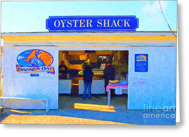 Marin County Greeting Cards - The Oyster Shack at Drakes Bay Oyster Company in Point Reyes . 7D9835 . Painterly Greeting Card by Wingsdomain Art and Photography