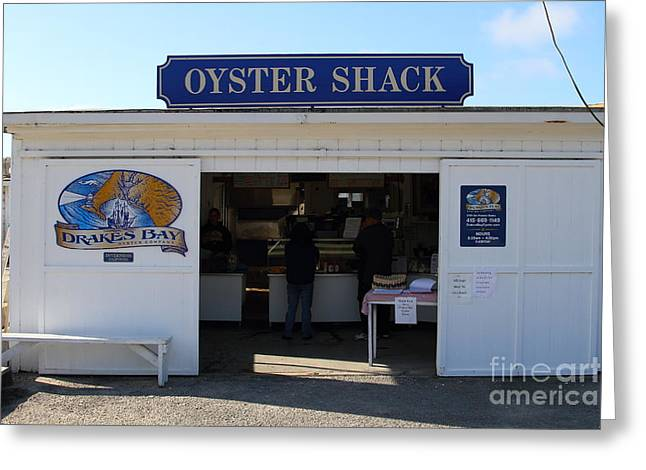 Marin County Greeting Cards - The Oyster Shack at Drakes Bay Oyster Company in Point Reyes California . 7D9835 Greeting Card by Wingsdomain Art and Photography