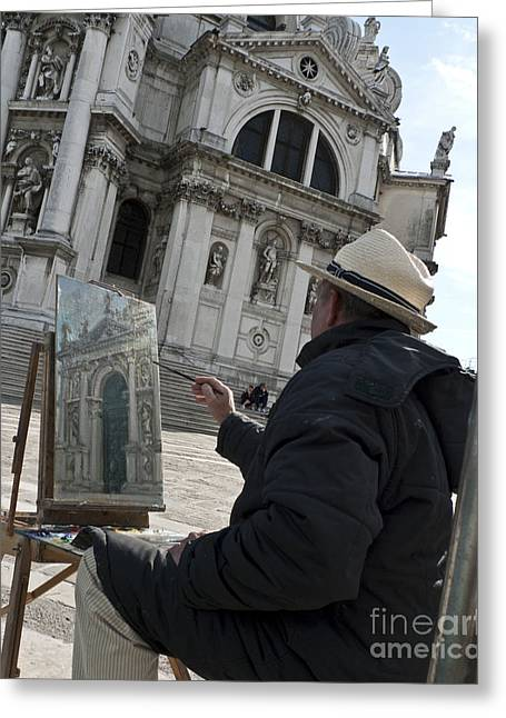 Church Painter Greeting Cards - The Painter Greeting Card by Heiko Koehrer-Wagner