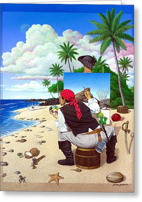 Pirates Paintings Greeting Cards - The Painting Pirate Greeting Card by Snake Jagger