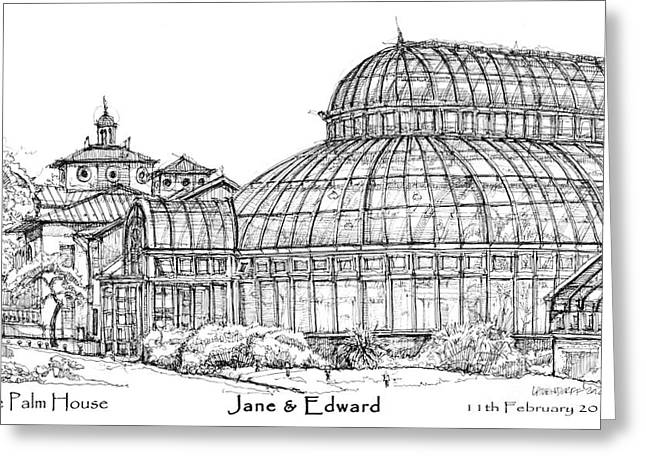 Photographs Drawings Greeting Cards - The Palm House for Jane and Edward Greeting Card by Building  Art