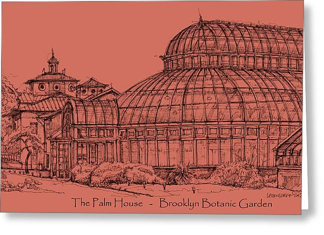 Detailed Ink Drawing Drawings Greeting Cards - The Palm House in a salmon pink  Greeting Card by Building  Art