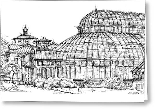Detailed Ink Drawing Drawings Greeting Cards - The Palm House in Brooklyn  Greeting Card by Building  Art