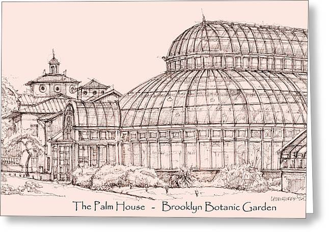 Detailed Ink Drawing Drawings Greeting Cards - The Palm House in pink Greeting Card by Building  Art