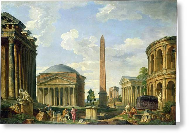 Roman Statue Greeting Cards - The Pantheon and other Monuments 1735 Greeting Card by Giovani Paolo Panini