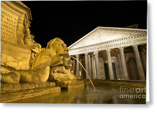 Pantheon Greeting Cards - The Pantheon at night. Piazza Della Rotonda.Rome Greeting Card by Bernard Jaubert