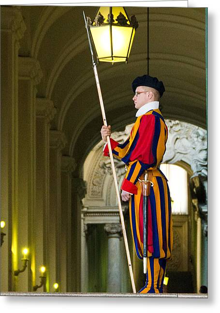 The Papal Swiss Guard Greeting Card by Jon Berghoff