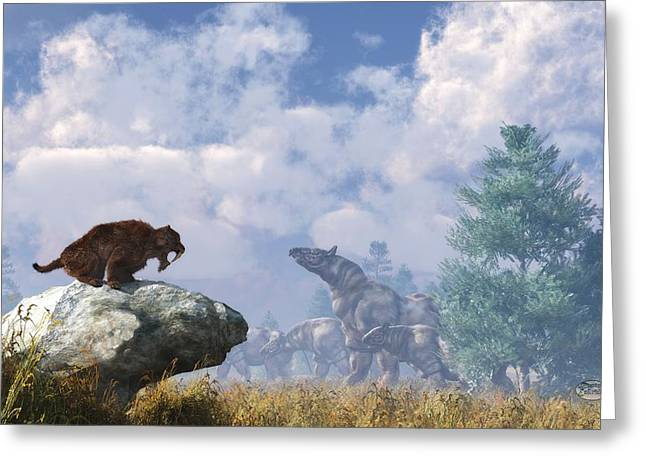 Rhinocerus Digital Greeting Cards - The Paraceratherium Migration Greeting Card by Daniel Eskridge