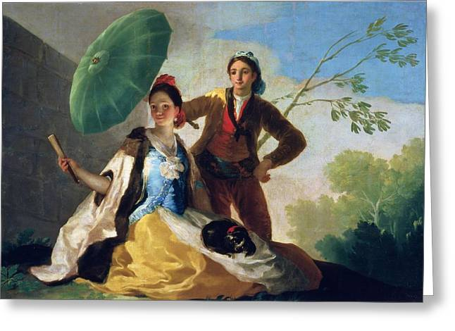 Lovers Greeting Cards - The Parasol Greeting Card by Goya