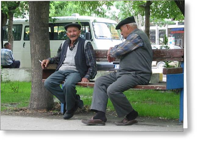 Old Man With Hat Greeting Cards - The Park Bench Greeting Card by Kathleen Manning