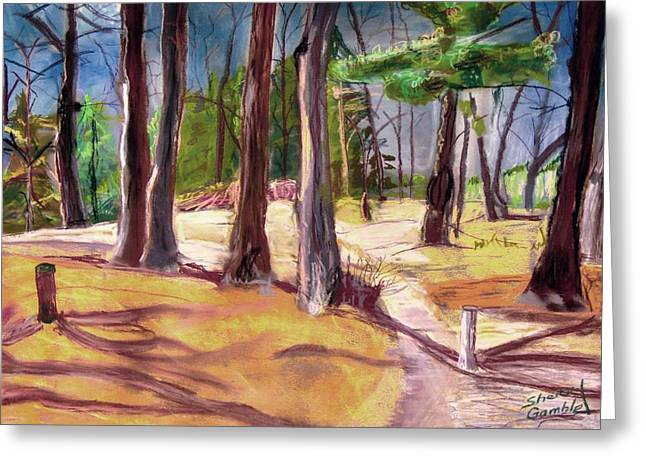 Leading Pastels Greeting Cards - The Park  Greeting Card by Sherry Gamble