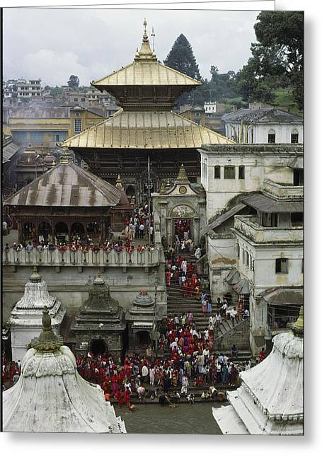 Gilding Greeting Cards - The Pashupatinath Temple Greeting Card by James P. Blair