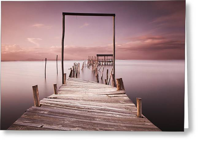 Pier Greeting Cards - The passage to brightness Greeting Card by Jorge Maia