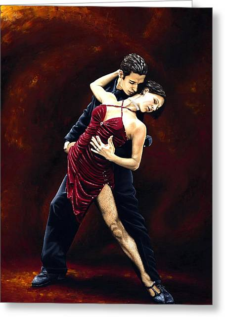 Red Dress Greeting Cards - The Passion of Tango Greeting Card by Richard Young