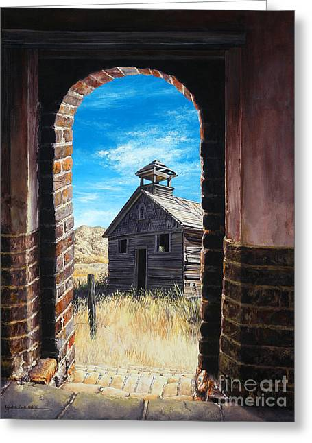 Wooden Building Paintings Greeting Cards - The Past Greeting Card by Lynette Cook