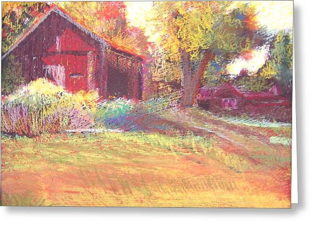 Hamptons Pastels Greeting Cards - The Pastel Barn Greeting Card by Katherine  Berlin