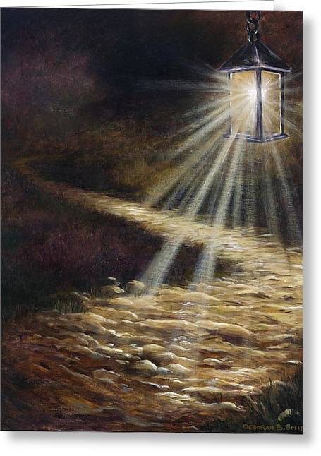 Night Lamp Greeting Cards - The Path Greeting Card by Deborah Smith